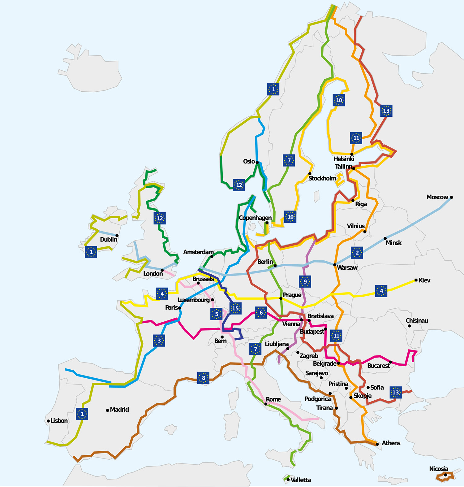 Eurovelo Avrupa Bisiklet Rotaları Ağı Haritası