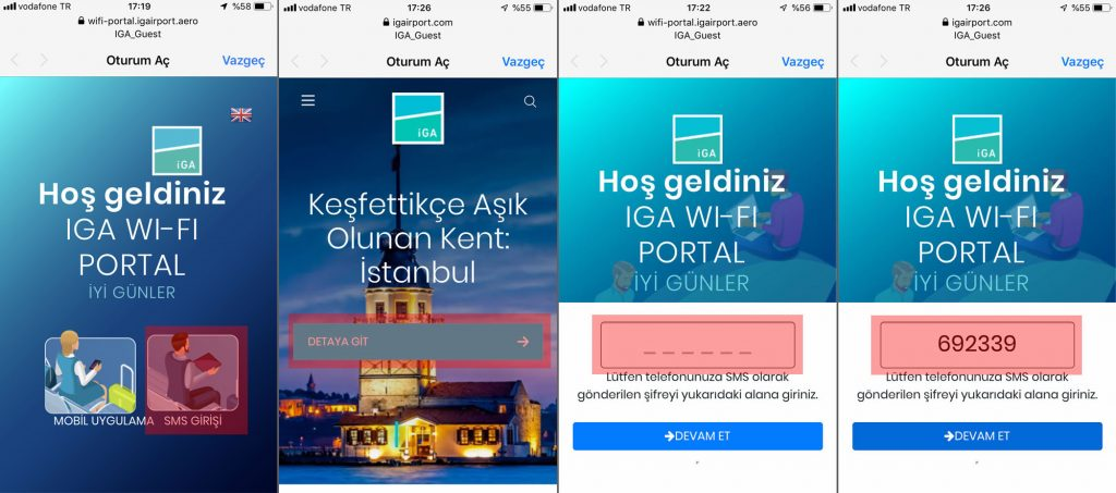 İstanbul Havaalanı'nda IGA_Guest Wi-Fi ağına bağlanarak ücretsiz internet hizmetinden yararlanabilirsiniz.